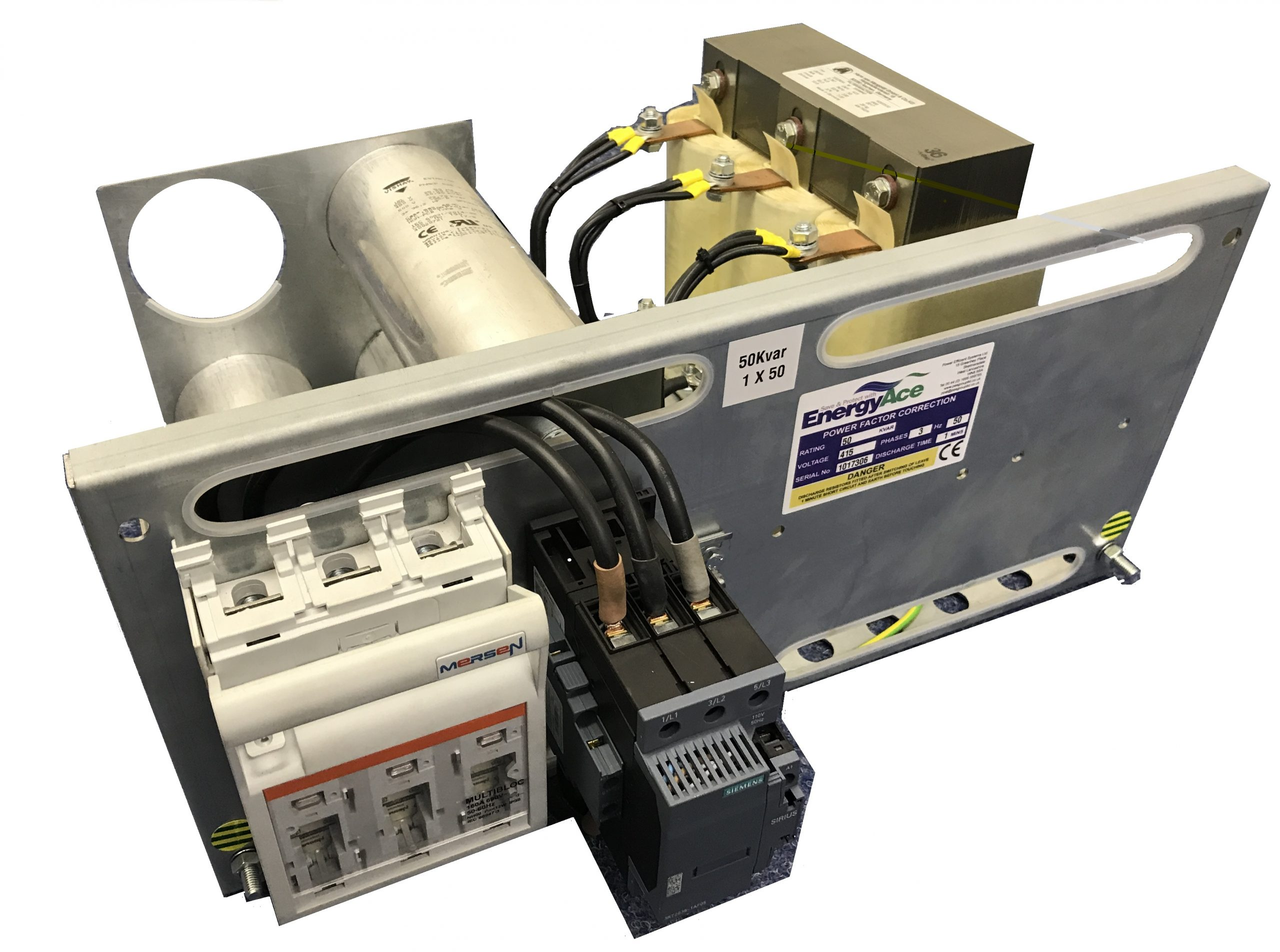 to promote a detuned power factor correction capacitor tray